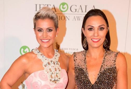 Maria Walsh and Shauna Keogh at the IFTA gala television awards ceremony held at the DoubleTree Hilton, Dublin. Pic:Mark Condren