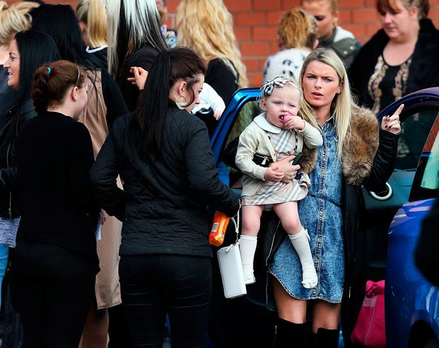 Mourners at the memorial mass in Ballally, Co Dublin. Photo: Steve Humphreys