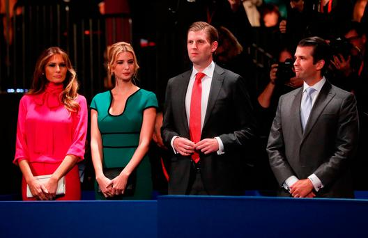 Donald Trump's wife Melania, daughter Ivanka, son Eric and son Donald Jr at the debate. (Photo by Pool/Getty Images)