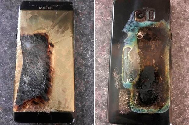 Composite photo taken with permission from the Facebook page of Michael Klering of his Samsung Galaxy Note7 which caught fire. Photo: PA
