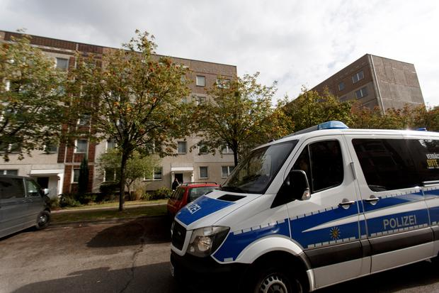 German police outside of the apartment building, where hours earlier, police arrested Syrian terror suspect Jaber Al-Bakr. Picture: Getty Images
