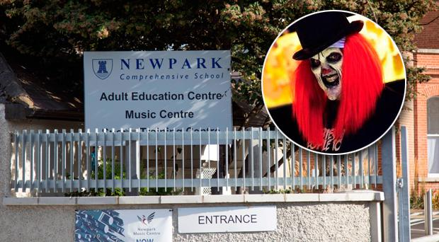 Newpark Comprehensive School in Blackrock and inset, a clown from the Nightmare Realm