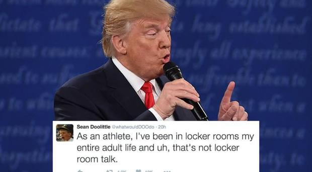 Donald Trump dismissed his 2005 lewd comments as 'locker room talk' during the presidential debate CREDIT: AFP