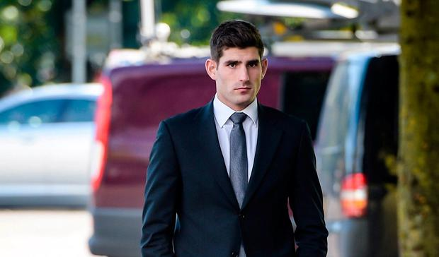 Footballer Ched Evans outside at Cardiff Crown Court