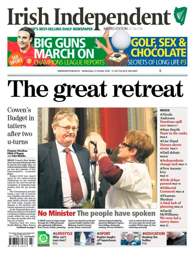 The front page of the Irish Independent on October 22, 2008