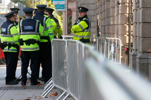 Increased Gardai outside Leinster House ahead of today's Budget announcement. Photo: Laura Hutton/Collins Photo Agency