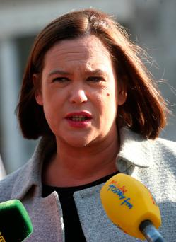 Sinn Fein Vice President, Mary Lou McDonald, speaks to the media on the Plinth at Leinster House ahead of t Budget announcement. Photo: Laura Hutton/Collins Photo Agency