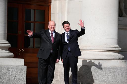 Michael Noonan and Paschal Donohoe pose for the annual snap