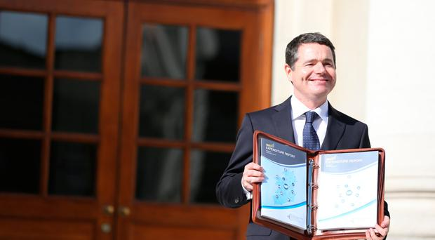 Minister Paschal Donohoe pictured on Budget Day 2017