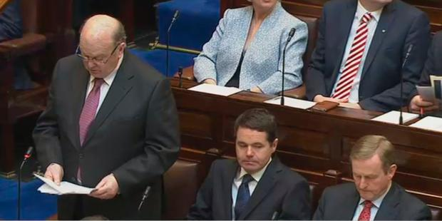 Finance Minister Michael Noonan, Public Expenditure Minister Paschal Donohoe and Taoiseach Enda Kenny in the Dáil chamber as Budget 2017 is announced.