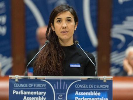 Former Isis prisoner Nadia Murad delivers her speech after winning the Vaclav Havel Human Rights Prize in the Council of Europe in Strasbourg, France, 10 October, 2016