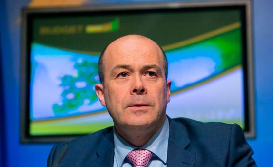Minister for Communications Communications, Energy & Natural Resources Denis Naughten TD speaking to media following Budget 2017 at Government Press CeNtre, on Merrion Street, Dublin Photo: Gareth Chaney Collins