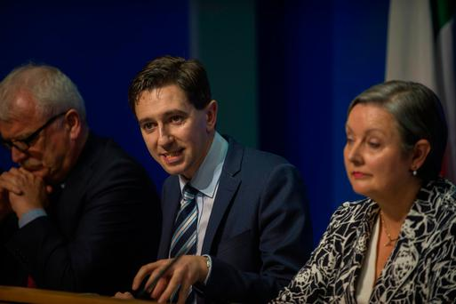 Budget day, Health. Finian McGrath TD. Simon Harris TD Minister for Health. Marcella Corcoran Kennelly TD. Photo: Douglas O'Connor.