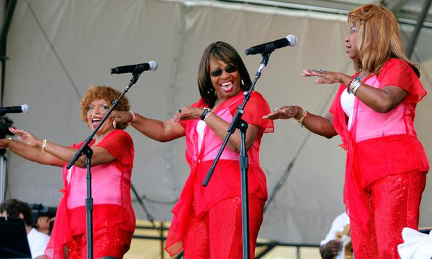 Members of the Dixie Cups from left, Rosa Lee Hawkins, Joan Marie Johnson and Barbara Ann Hawkins perform during the 2008 New Orleans Jazz & Heritage Festival in New Orleans (AP Photo/Dave Martin, File)
