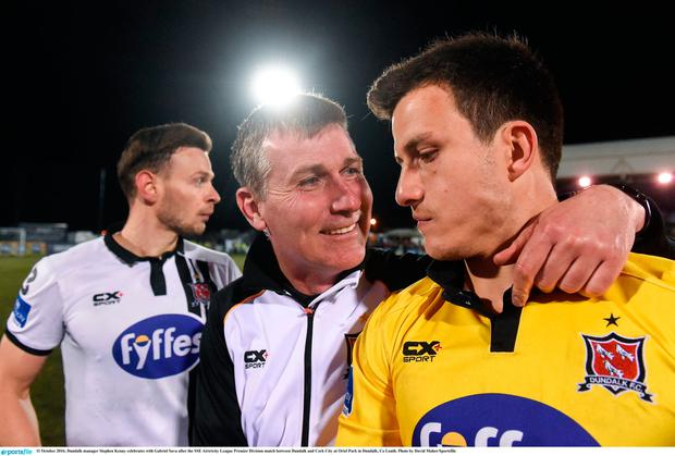 Dundalk manager Stephen Kenny celebrates with Gabriel Sava