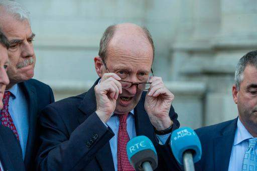 Minister Shane Ross outside goverment buildings for budget 2017. Pic:Mark Condren