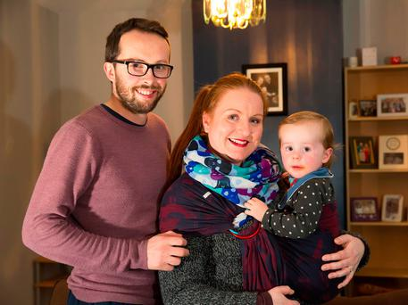 Ian and Gillian O'Neill with their 18-month-old son Sebastian at home in Gorey, Co Wexford. Photo: Mary Browne