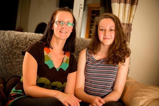 Frauke Weinand and her daughter Chloe who was diagnosed with severe scoliosis in 2014 and is still waiting for treatment, at their home in Glann, Co. Sligo