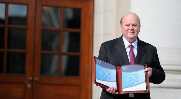 Finance Minister Michael Noonan on Budget Day 2017 Photo: Mark Condren