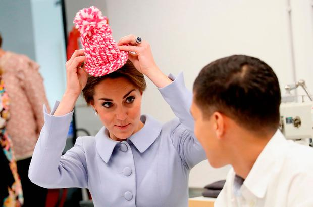 The Duchess of Cambridge meets pupils in a wool class during a visit to the De Bouwkeet Work Space in Rotterdam, the Netherlands.