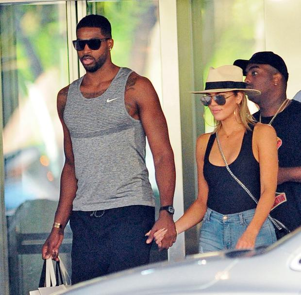 Khloe Kardashian with boyfriend Tristan Thompson. Picture: Splash News