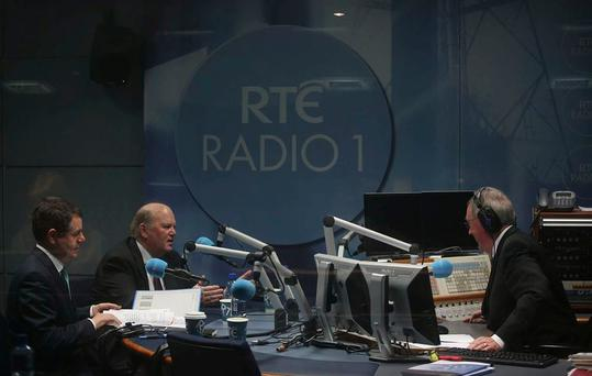 Ministers Paschal Donohoe and Michael Noonan in the RTE studio with Sean O'Rourke. Photo: Mark Condren