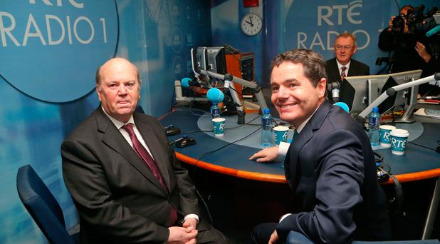 Minister for Finance, Michael Noonan and Minister for Minister for Public Expenditure and Reform Paschal Donohoe pictured with Sean O'Rourke at RTE Radio studios this morning where the two ministers were questioned on the Budget by listeners. Picture Colin Keegan, Collins Dublin.
