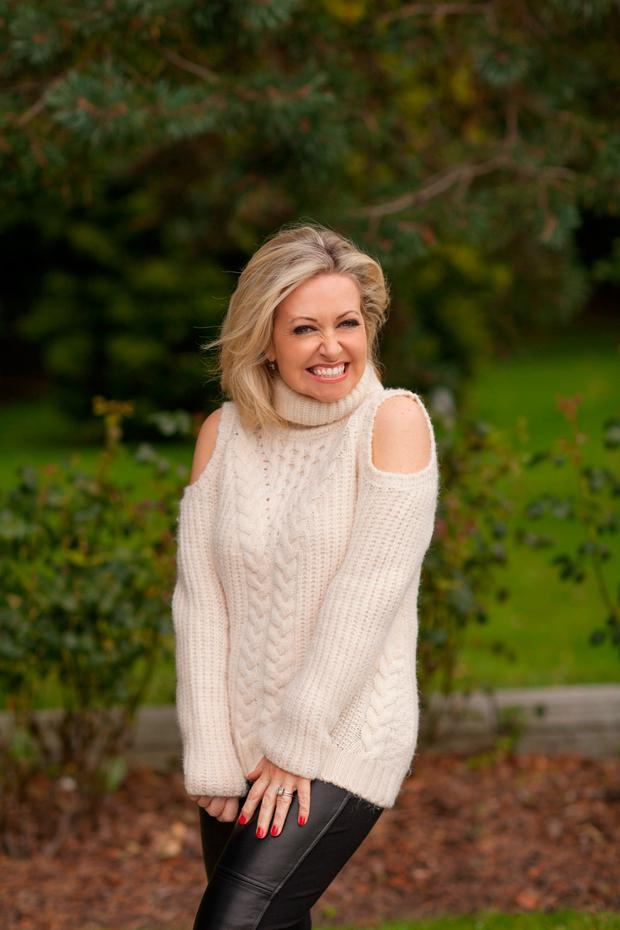Cathy wears: Sweater, €54, Marks & Spencer; leather trousers, Rudi & Madison, Greystones (Cathy's own)