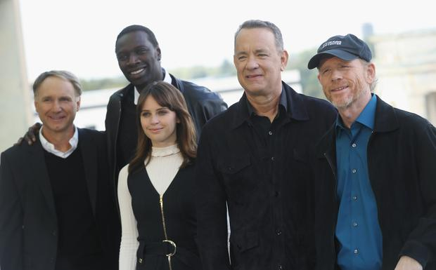 (From L to R) Dan Brown, Omar Sy, Felicity Jones, Tom Hanks and Ron Howard attend the photocall for