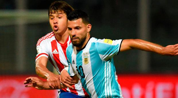 Aguero: Back from Argentina duty. Photo: Eitan Abramovich/AFP/Getty Images