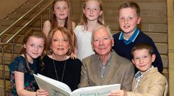 Kathleen Watkins with grandchildren Sadhbh, Saoirse, Kate, Harry and Cian and husband Gay Byrne at the launch of her new children's book 'Pigín of Howth' at The National Gallery of Ireland. Picture:Brian McEvoy
