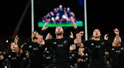 New Zealand players perform the Haka prior to their match against South Africa (Photo by Phil Walter/Getty Images)