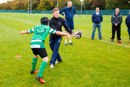 Connacht's Kieran Marmion during Mazda's rugby clinic at Carton House Picture: Jeff Harvey