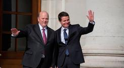 Finance Minister Michael Noonan and Minister for Public Expenditure Paschal Donohoe prepare to reveal Budget 2017 Photo: Mark Condren