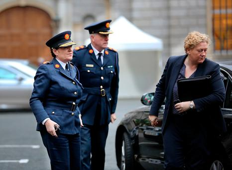 Garda Commission Nóirín O'Sullivan arriving for the Oireachtas Joint Committee on Justice and Equality meeting at Leinster House