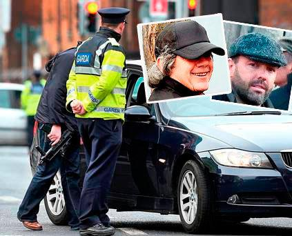 An unarmed garda stands alongside a member of the ERU carrying a machine gun (main); Gerry Hutch (inset), Daniel Kinahan (inset)