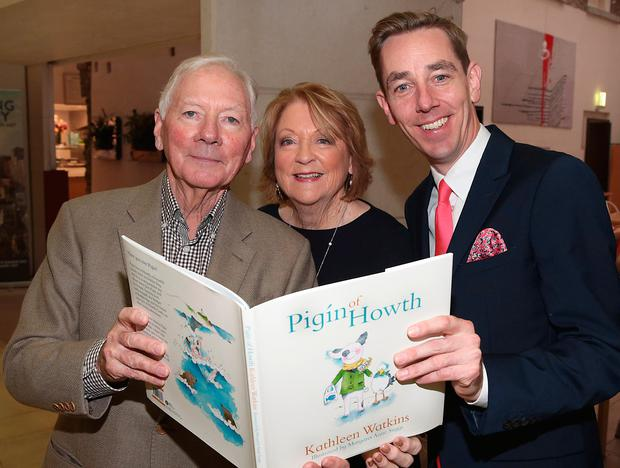 Ryan Tubridy with Gay Byrne and Kathleen Watkins at the launch of her new children's book, Pigín of Howth, at The National Gallery of Ireland. Picture: Brian McEvoy