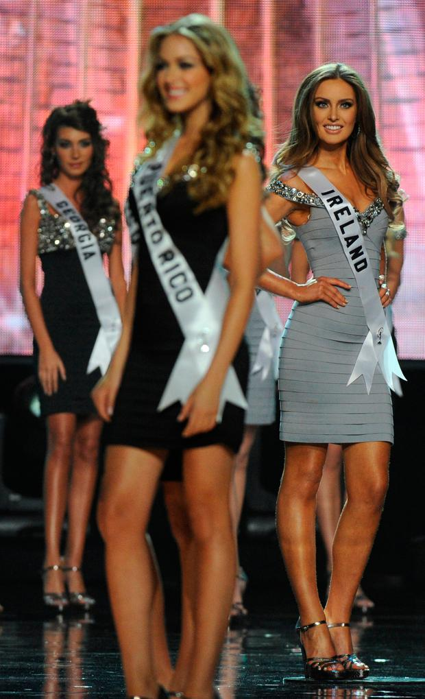 Miss Ireland Rozanna Purcell (R) poses during the Miss Universe 2010 Pageant final at the Mandalay Bay Hotel in Las Vegas on August 23, 2010