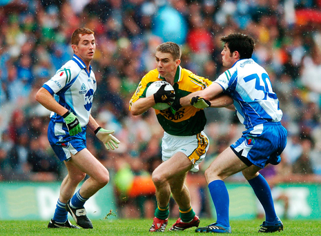 Marc Ó Sé, Kerry, in action against Thomas Freeman, left, and Ciaran Hanratty, Monaghan
