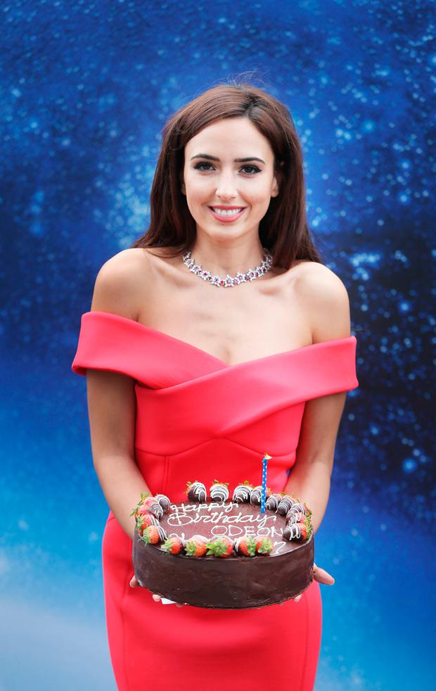 Nadia Forde blows a birthday kiss at the ODEON Charlestown to celebrate the cinema's first birthday where all cinema tickets all weekend are €3. Picture: Leon Farrell/Photocall Ireland.