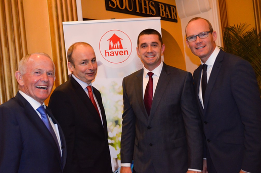 Haven's founder and INM Chairman Leslie Buckley, with Fianna Fáil leader Michael Martin, Alan Quinlan and Minister Simon Coveney