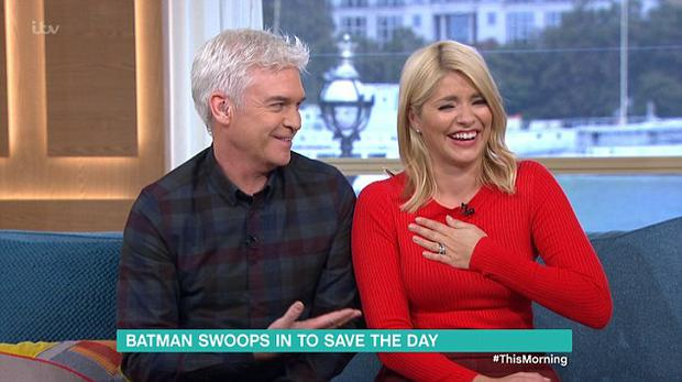 Holly Willoughby and Phillip Schofield broke down into a fit of giggles during a bizarre interview with a clown and Batman on This Morning