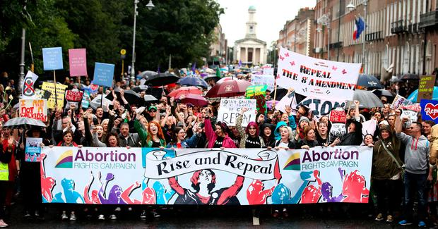 The Repeal the Eight march on Merrion Square last month. Photo: Gerry Mooney