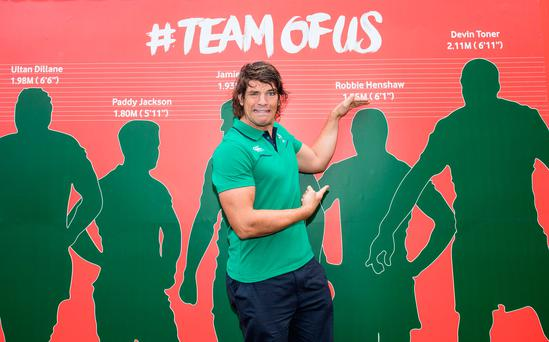 Donncha O'Callaghan was in Dublin for the launch of the #TeamOfUs shirt swap initiative
