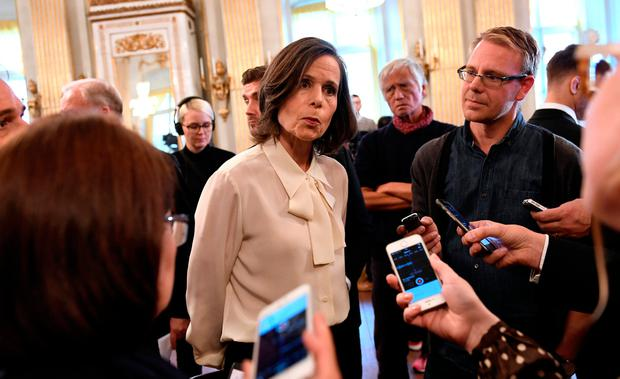 Permanent Secretary of the Swedish Academy Sara Danius speaks to the media after announcing that Bob Dylan is awarded the 2016 Nobel Prize in Literature. TT News Agency/Jonas Ekstromer/via REUTERS