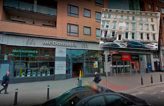 McDonalds on Ilac Street and inset Temple Street Hospital. Picture: Google Maps