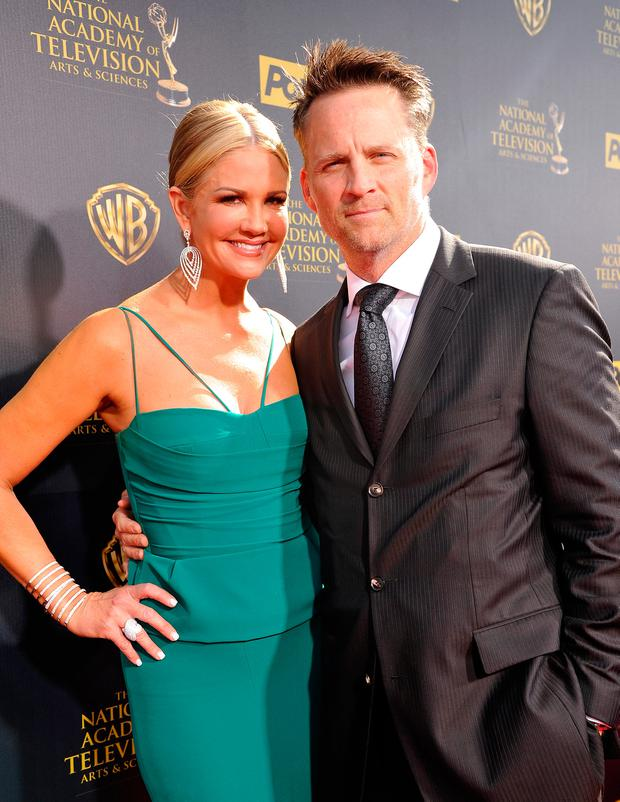TV personalities Nancy O'Dell (L) and Keith Zubulevich attend The 42nd Annual Daytime Emmy Awards at Warner Bros. Studios on April 26, 2015 in Burbank, California. (Photo by John Sciulli/Getty Images for NATAS)