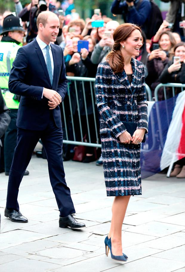 Prince William, Duke of Cambridge and Catherine, Duchess of Cambridge arrive at The National Football Museum during their visit to Manchester on October 14, 2016 in Manchester, England. (Photo by Chris Jackson/Getty Images)