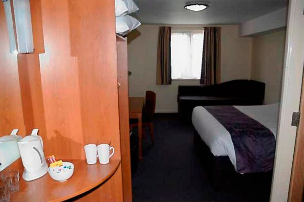 Inside of Room 14 at the Premier Inn, near Rhyl, where footballer Ched Evans cheated on partner Natasha Massey with a teenager in 2011. North Wales Police/Crown Prosecution Service/PA Wire