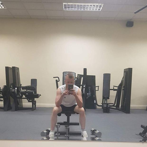 One month before the transplant when Luke was exercising on one lung.